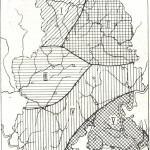 Карта геоботанических районов Удмуртии.I— Северо-западный район; II — Северо-восточный район; III— Центрально-западный район с преобладанием сосновых лесов; IV — Центральный район смешанных широколиственно-хвойных лесов; V —